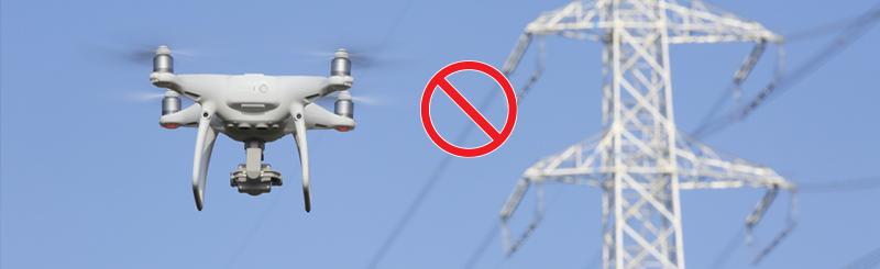 Drone near power line